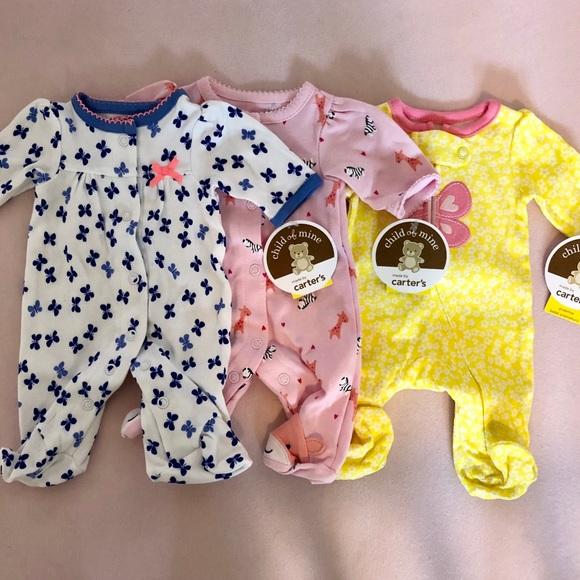 95ca67095 Carter's Pajamas   Preemie Baby Girl Sleeper Set Lot   Poshmark